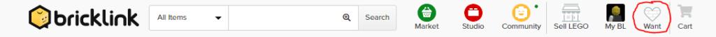 Górne menu serwisu Bricklink z zaznaczoną ikoną Want po prawej stronie