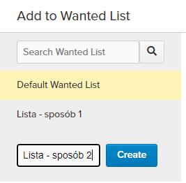 Pole nazwy tworzonej w locie Wanted List
