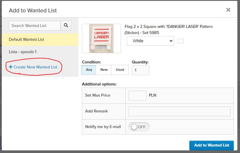 Opcja tworzenia nowej Wanted List w locie