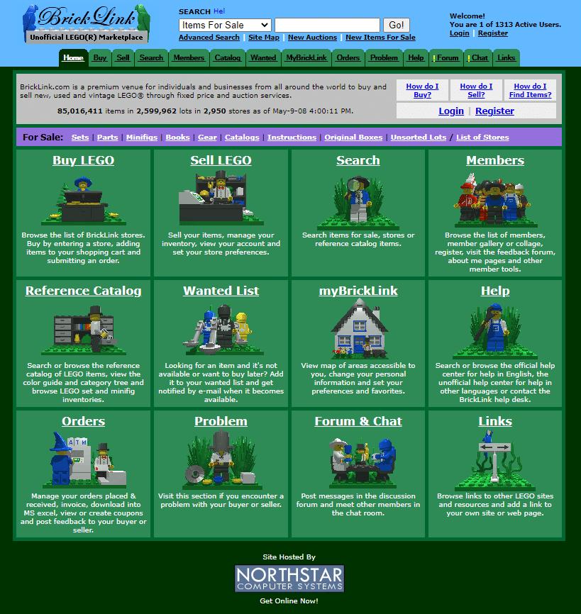 Dawny interfejs użytkownika serwisu Bricklink z widoczną opcją Wanted List